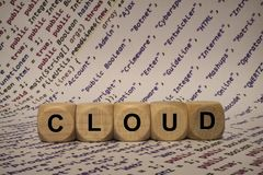 Cloud - cube with letters and words from the computer, software, internet categories, wooden cubes. Wooden cubes with words from the computer, software, internet royalty free stock photo