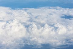Cloud cumulus from the altitude of the airplane flight, the atmosphere weather. Royalty Free Stock Photography