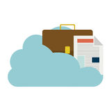 Cloud in cumulus shape with briefcase and document with fold. Illustration Royalty Free Stock Images