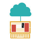 Cloud in cumulus shape connected to laptop. Illustration Stock Image
