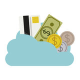 Cloud in cumulus shape with elements investment. Illustration Royalty Free Stock Photography