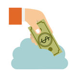 Cloud in cumulus shape with hand holding a bill with dollar symbol. Illustration Stock Images