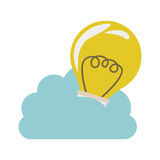 Cloud in cumulus shape with light bulb with filaments. Illustration Stock Photo