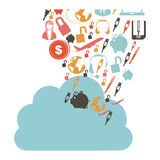 Cloud in cumulus shape with set collection investment and tech. Illustration Royalty Free Stock Image