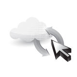 Cloud and cursor connected. illustration. Design over white Stock Photo