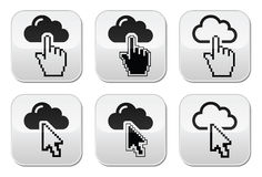 Cloud with cursor hand and arrow buttons set Stock Photos