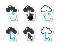 Cloud with cursor hand and arrow icons set stock illustration