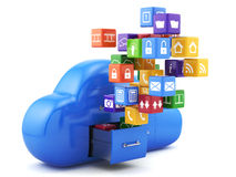 Cloud. 3d render of cloud storage concept.  on white background Stock Photos