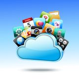 Cloud 3d storage. With mobile media apps icons set vector illustration Stock Photo