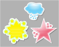 Cloud, Daisy, Star Journal Stamps. Journal stamps or stickers: Blue Rainy Cloud, Yellow and Green Daisy, and Red Star Royalty Free Illustration