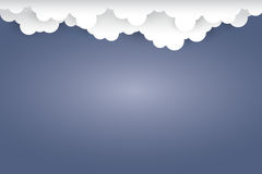 Cloud  on dark blue background  Paper art Style.vector  Royalty Free Stock Photos