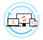 Cloud Data Backup Sync. This image is a vector file representing a cloud data backup sync concept stock illustration