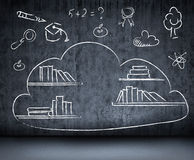 Cloud data with books shelves drawn in chalk on. Wall Stock Photos