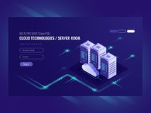 Cloud data center, server room icon, information request processing, computer technologies, isometric vector. Ultraviolet stock illustration