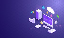 Cloud data downloading and uploading, 3d desktop with cloud server and multiple business equipments on shiny grid background. Dat. A Management concept based stock illustration