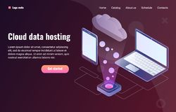 Cloud data hosting concept with laptop and phone royalty free illustration