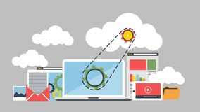 Cloud data management with gears infographics