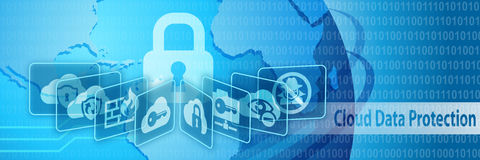 Cloud Data Security Protection Banner. Cloud Data Security Protection Concept Banner Stock Photos