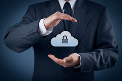 Cloud data security. Cloud storage security concept. Security and safety of cloud computing data storage. Protecting gesture of safety data management specialist Stock Photography