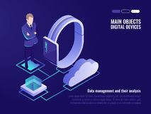 Cloud data sharing, information management, cloud data storaging, system administrator. Smart watch, cloud icon, isometric illustration on ultra violet Royalty Free Stock Photo
