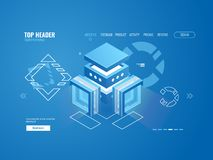 Cloud data storage, big data processing and analysing, digital technology, data center database icon isometric. Vector Stock Photography