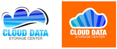 Cloud Data Storage Blue Logos Stock Photography