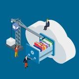Cloud data storage flat 3d isometric business technology server. Concept web vector illustration. Businessman put in document drawer folder in cloud-shaped vector illustration
