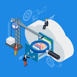 Cloud data storage flat 3d isometric. 3d flat magnifying glass. Businessman put in document drawer folder in cloud-shaped cabinet. Crane lowers a folder to the Royalty Free Stock Images
