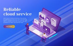 Cloud data storage and remote data access flat 3d isometric business concept. People stand at the open laptop. 3d multimedia files. Icons. Professional hosting Stock Photo
