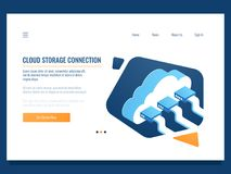 Cloud data storage, remote technology, networking connection, file share access for team, server room and datacenter royalty free illustration