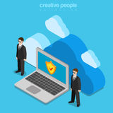 Cloud data storage security safety service flat isometric vector Stock Image
