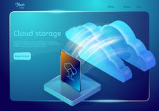 Cloud data storage web page template. Abstract design concept. Isometric vector illustration. vector illustration