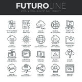 Cloud Data Technology Futuro Line Icons Set. Modern thin line icons set of cloud data technology services, global connection. Premium quality outline symbol