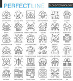 Cloud data technology services outline concept symbols. Perfect thin line icons. Connection modern stroke linear style Stock Images