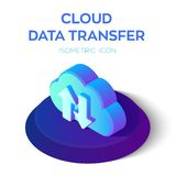 Cloud Data Transfer Isometric Icon. 3D Isometric Cloud with Download Upload Arrows. Created For Mobile, Web, Decor, Print Products. Cloud Data Transfer Isometric royalty free illustration