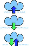 Cloud data uploading and downloading icons. A set of three icons for cloud computing: one for uploading data, one for downloading and one more for data exchange Royalty Free Stock Images