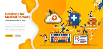 Cloud Database for medical Records and hospital communication systems connected in wifi, smartphones and laptops .vector illustrat. Ion concept can be use for stock illustration