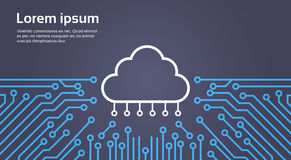 Cloud Database Over Computer Chip Moterboard Background Data Center System Concept Banner Stock Image