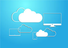 Cloud device on sky. Cloud  connecting with responsive device Royalty Free Stock Photos