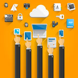 Cloud devices flat icons with hands Royalty Free Stock Images