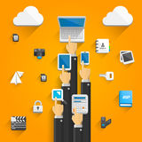 Cloud devices flat icons with hands Royalty Free Stock Image
