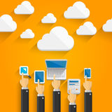 Cloud devices with hands Royalty Free Stock Photos