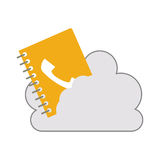 Cloud with directory notebook icon. White cloud shape with directory notebook icon. isolated design. vector illustration Royalty Free Stock Photography