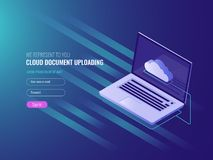 Cloud document uploading concept, clous server file copy and storage, clone work files, open laptop IT isometric 3d. Vector Royalty Free Stock Images