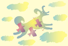 A cloud dog rushes with birds in the sky Royalty Free Stock Image