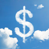 Cloud dollar sign. Floating in the sky stock image