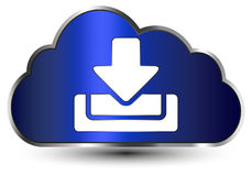 Cloud for download. Illustration of a blue cloud and download symbol, isolated on white background Royalty Free Stock Image