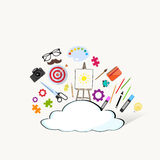 Cloud Doodle Hand Draw Sketch Concept Technology Internet Data Information Storage Royalty Free Stock Photo