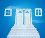 Cloud door way and windows collage. On blue royalty free illustration