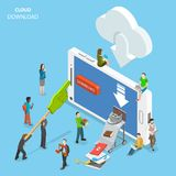 Cloud download flat isometric vector concept. Cloud download flat isometric vector. People are downloading some content like video, music, books, films Stock Photos
